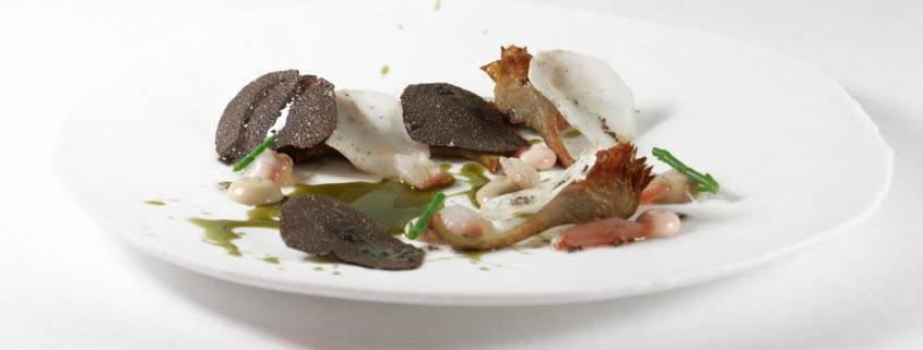 restaurante de alta gastronomía en Valencia - alcachofa de gamba y trufa